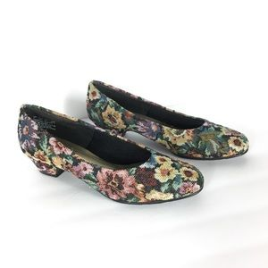 Vintage soft style tapestry needlepoint mules